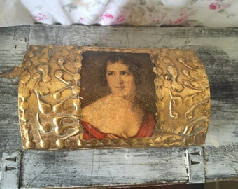 Vintage Florentine Jewelry Box - Made in Italy - Hand painted Gold Florentine - French Provencial - Florentine Box gold gilt