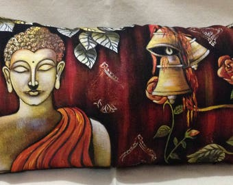 Hand Painted Buddha (Peace) Pillow Cover