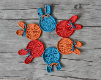 Crochet coasters, rabbit coasters, bunny coasters, cotton coasters, children parties, Mother's day, table decorations, home decor