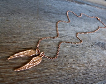 Rose Gold Angel Wings Necklace / 24K Rose Gold Vermeil Wings on 24K Rose Gold Vermeil chain
