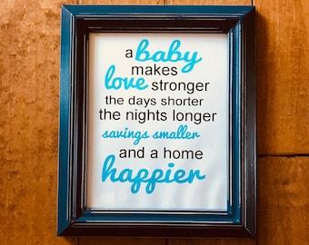 A baby makes a home happier/ digital print