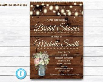 Rustic Bridal Shower Invitation, Rustic Invitation, Bridal Shower Template, Flower Invitation, Bridal Shower Invitation, Wood Invitation
