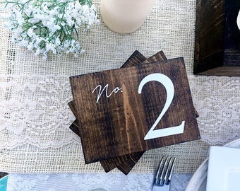 Wedding Double Sided Table Numbers, Horizontal Wooden Table Numbers, Rustic Table numbers, Wood Table Numbers, HORIZONTAL NO. 2