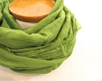 Moss Green Cotton Scarf, Spring Summer Lightweight Scarf, Light Green, Hand Dyed, Large Green Scarf, Yellow Green Gauze Scarf, Lime, Grass