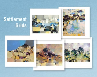 Art Cards | Set of 5| From Original Acrylics | Blank
