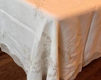 Vintage Large Embroidered Linen Ecru on White Antique Tablecloth 67 x 106
