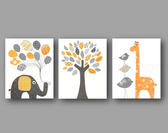 Orange and gray Kids Room Decor elephant balloon giraffe bird Tree Home Decor Gender neutral  Nursery - Set of three prints