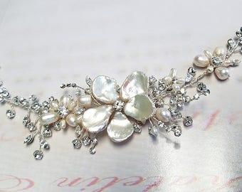 Crystal Hair Vine with Pearl Flowers, Wedding Headpiece, Boho Floral Hairpiece, Organic OOAK Bridal Hairpiece, Silver Vine