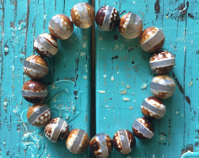 Cappuccino Striped Dzi Agate | Super Chunky 12 mm | Spiritual Junkies | Yoga + Meditation | Stackable Mala Bracelet
