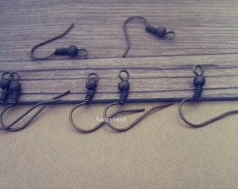 100 pcs antique bronze ear hooks 18mm