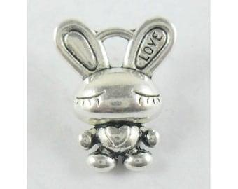 8 Love Bunny Charms Pendants Antique Silver Tone Cute Bunnies Rabbit Charm Jewelry 17x13 mm