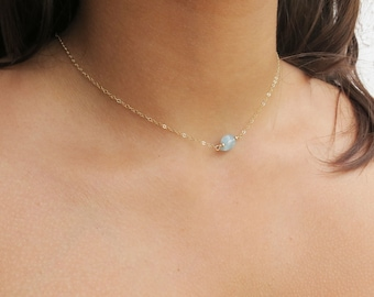Aquamarine Dainty Necklace Gold Filled Gemstone Necklace Gift for Mom Raw Aquamarine Necklace Gold Necklace Jewelry Gift for Women