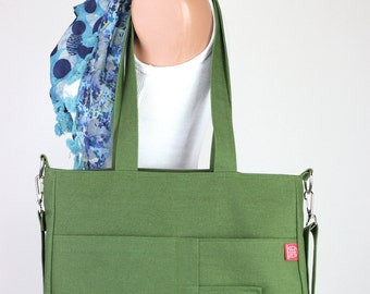 Green Bag Washable Daily Use Handmade Double Adjustable Removable Strap Zipper Purse Crossbody Hang Purse Canvas Bag Diaper Bag Shopping Bag