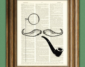 Mr Mustache with Monocle and Pipe beautifully upcycled vintage dictionary page book art print