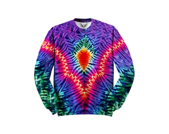Trippy Sweater - Psychedelic Sweat Shirt - Light Show Festival Clothes - All Over Print - Raver Fashion B3Cuqn