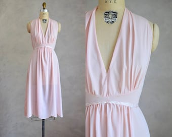 vintage 1950s pale pink nightgown | vintage halter nightgown  | romantic grecian nightie | 50 60s pinup lingerie | vintage nylon nightgown
