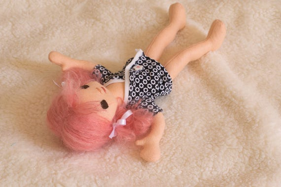 ExtraSmall Baby Egg doll with Pink Hair and Wardrobe