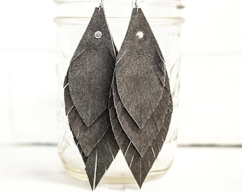 "4 1/2"", recycled, leather feather earrings, leaf earrings, boho earrings, dangle earrings, feather earrings, tassel earrings, stacylynnc"