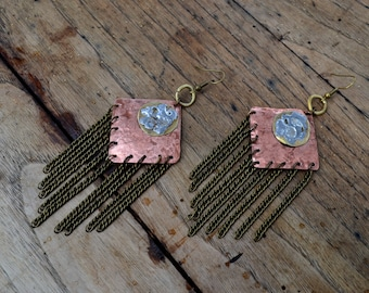 SOLDES // Boucles métalliques tribales / Ethniques en Cuivre, Laiton & Etain