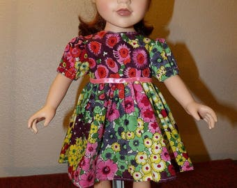 Pretty modest colorful floral dress for 18 inch dolls - ag330