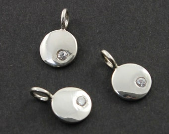 Sterling Silver Round Disc Tag  w/ White Saphire Charm / Shiny Finish Jewelry  Finding, 1 Piece (SS/CH11/CR9)