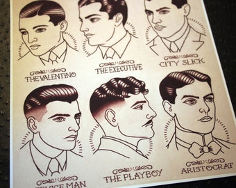 "1920's Gentlemen's Hairstyle Barber Barbering Guide 11""x11.5"""