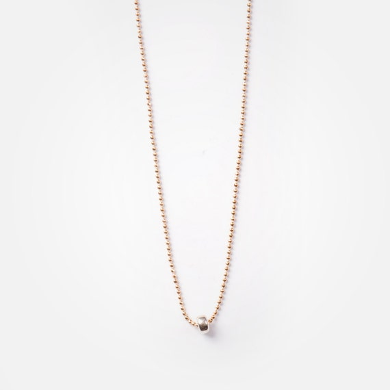 """Delicate ball chain """"mila"""" necklace, real silver ring pendant, handmade in Montreal, Canada"""