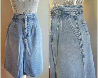 80s womens vintage denim skirt. 1980s vintage blue jean skirt. Vintage high waist skirt. Retro womens denim skirt. Size 13/14 jean skirt.