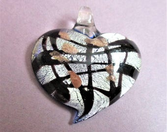Murano Style Heart Pendant Dichroic Art Glass Pendant Silver Black Copper Venetian Glass Vintage Jewelry Making Supply Valentine Gift
