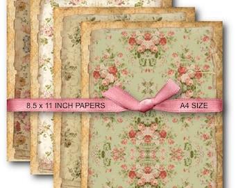 A4 Vintage Floral Background Digital Collage Sheet Download -691- Digital Paper - Instant Download Printables