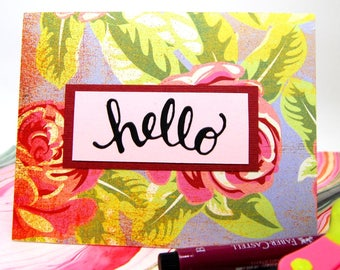 """Card - """"Hello"""" - Pink and Green Floral - Friendship - Encouragement"""