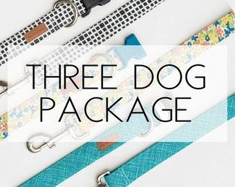 Three Dog Package- 3 Dog Collars & 3 Dog Leashes
