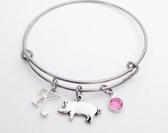 Pig Gifts for Women, Pig Gifts, Pig Bangle Bracelet, Pig Lover Gift, Pig Birthday, Adjustable Bangle Bracelet, Pig Jewelry, Pig Farmer