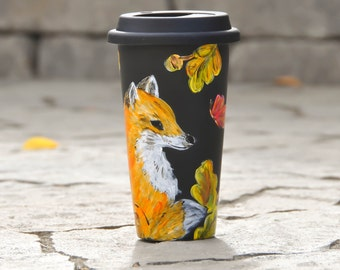 Acorns and Oak leaves Black Ceramic Travel Mug - Hand Painted Fox and Butterfly Eco cup - Porcelain Mug with Lid - Insulated Tumbler