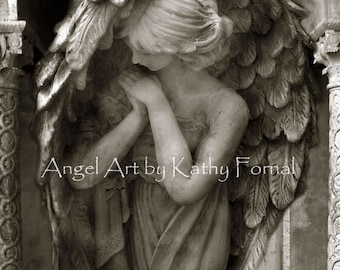 Angel Photography, Angel In Prayer, Guardian Angel Art Prints, Praying Angel Print, Spiritual Angel, Angel Praying Art, Guardian Angel Print