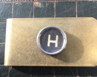 H typewriter key money clip