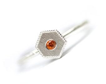 Honeycomb Citrine Silver Ring Geometric Modern Orange November Birthstone Hexagon Delicate Minimalistic Stackable Milgrain Edge - Golden Geo