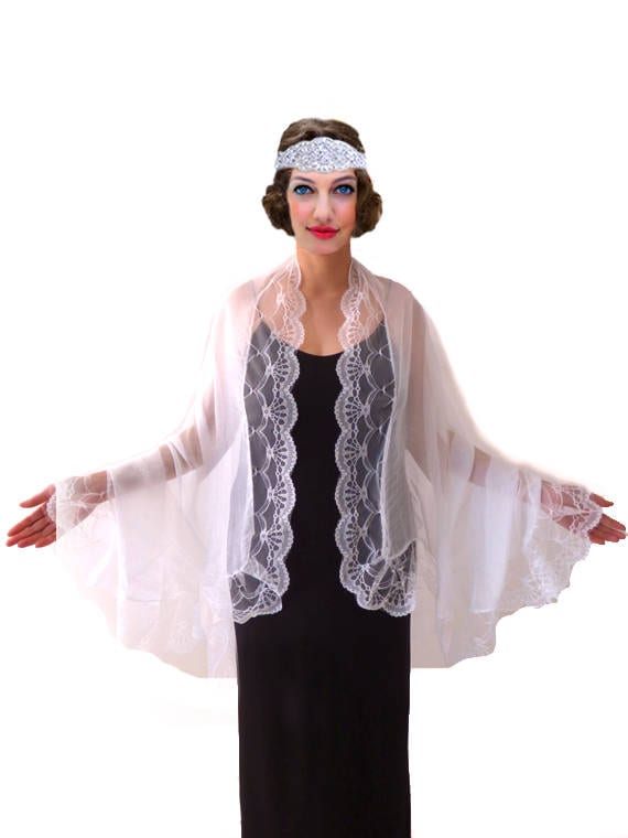 Vintage Coats & Jackets | Retro Coats and Jackets White Lace Shawl Bridal Scarf Boho Shawl $21.60 AT vintagedancer.com