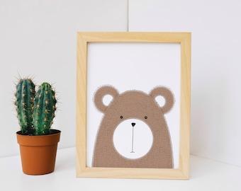 Bear Nursery Art Print, Bear Wall Art, Woodland Nursery Decor, Nursery Decor, Bear Wall Print, Wall Art
