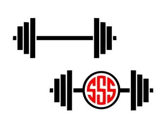 Barbell svg, weightlifting svg, barbell monogram svg, gym svg, crossfit svg, workout svg, fitness svg, svg files for cricut, dxf files, svg