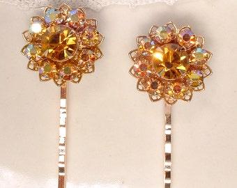 Vintage Autumn Wedding Bridal Hair Pins, Honey Topaz Rhinestone Gold Bobby Set Bridesmaids Gift Rustic Chic Country Hairpiece Fall Sunflower
