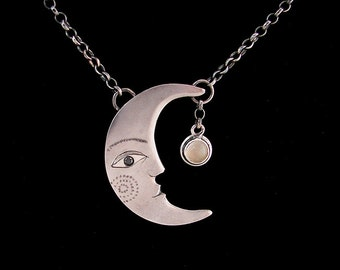Moon face pendant, handmade in silver with black diamond eye and moonstone