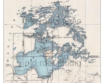 Hand Painted Map of Lake of the Woods, Boundary Waters, Minnesota, 1930 / Vintage BWCA / Old BWCA Map / Old Lake of the Woods Map / Northern