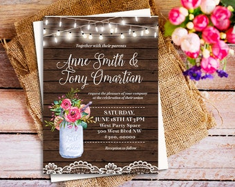 Country Rustic Wedding Invitations, Barn Wood rustic wedding invitations, Country Invitation, String Lights wedding invitation, mason jar