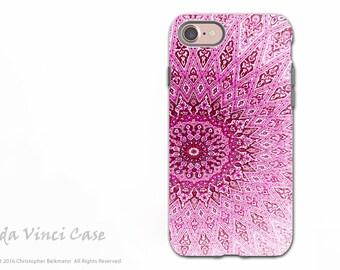 Pink Zen Mandala - Artistic iPhone 7 and iPhone 8 Tough Case - Dual Layer Protection - Rose Mandala