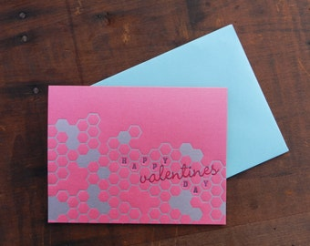 Letterpress Valentines Honeycomb Card with Turquoise envelope