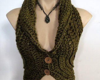 LADIES VEST, crochet, with buttons, pixie, hippie, burning man, knit, earthy, festival, leaf, forest, tribal
