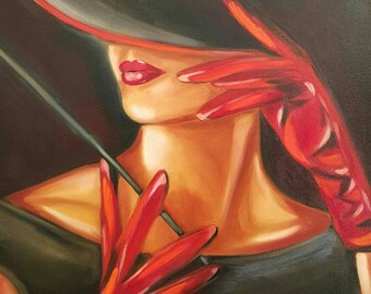 Vintage, oil painting on stretched canvas,  24x36 inch, woman in a hat, FREE US SHIPPING  Unframed.