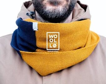 100% Italian wool scarf. Infinity scarf. Gift for him. Unisex. Winter. Woolloomooloo whar handmade. Navy blue/yellow ochre