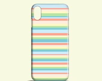 Pastel Stripes phone case, cute iPhone X case, iPhone 8, iPhone 7, 7 Plus, stripy iPhone 6S, iPhone SE, Samsung Gal S7, S6, S6 Edge